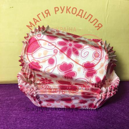 Кондитерская бумажная форма для кекса прямоугольная 8 см * 3см - белый с розовыми узорами