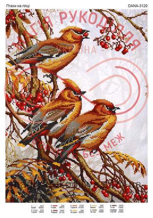 Схема для вишивання бісером картина габардин А3 - DANA-3120 Птахи на гілці