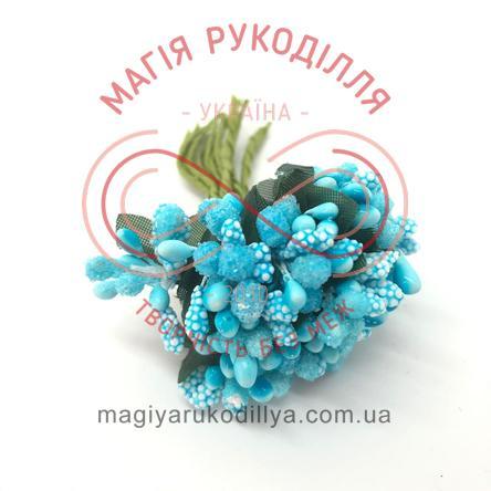 Тичинки комбіновані на ніжці d0,5-1смh9,5см 1в'язочка/12шт - блакитний+білий