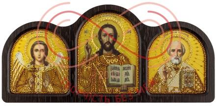 Набор вышивания нитками + бисером Триптих золото: Ангел Хранитель, Спаситель, Николай Чудотворец