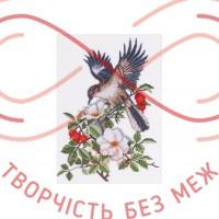Набір для вишивання хрестиком - П4-001/Р Птах у шипшині