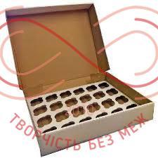 Кондитерська/подарункова коробка 24 кекси (мікрогофра) 475*321*90 - білий (брак)
