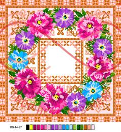 Схема на канві для вишивання хрестиком подушка - П3-14-27