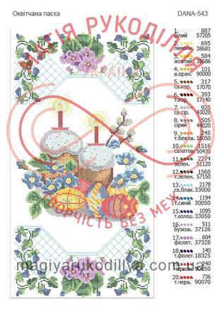 Схема для вишивання бісером рушник пасхальний габардин - DANA-543 Оквітчана паска