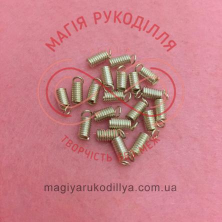 Зажим пружинка для нитки/шнура d3мм*7мм - сріблястий