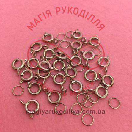 Карабін круглий d5мм (дві складові) - темний сріблястий