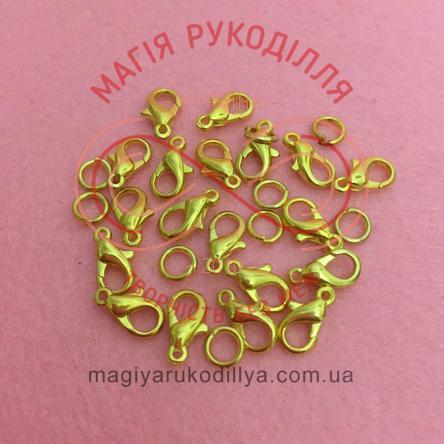 Карабін краплинка d5мм h10мм (дві складові) - золотистий