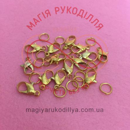 Карабін краплинка d6мм h12мм (дві складові) - золотистий