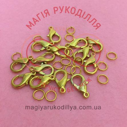 Карабін краплинка d7мм h15мм (дві складові) - золотистий