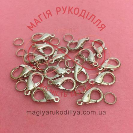 Карабін краплинка d7мм h15мм (дві складові) - сріблястий
