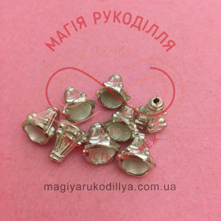 Обіймач намистини конус d7мм h10мм - сріблястий