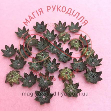 Обіймач намистини квітка 7 пелюсток d10мм h4мм - бронзовий