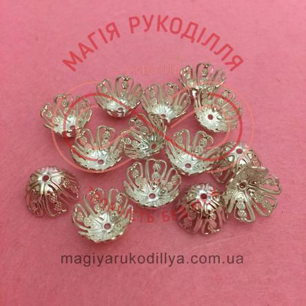 Обіймач намистини квітка 6 пелюсток d11мм h7мм - сріблястий