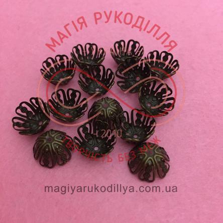 Обіймач намистини квітка 6 пелюсток d11мм h7мм - темний бронзовий