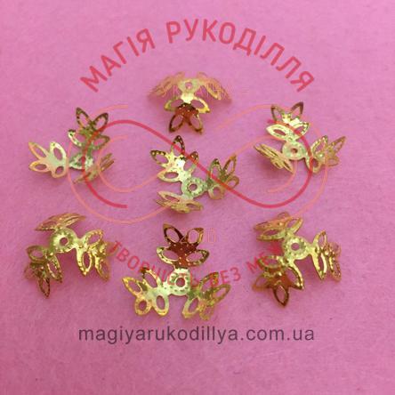 Обіймач намистини квітка трилист d15мм h7мм - золотистий