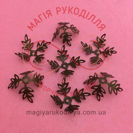 Обіймач намистини квітка 4 пелюстки d30мм h12мм - бронзовий