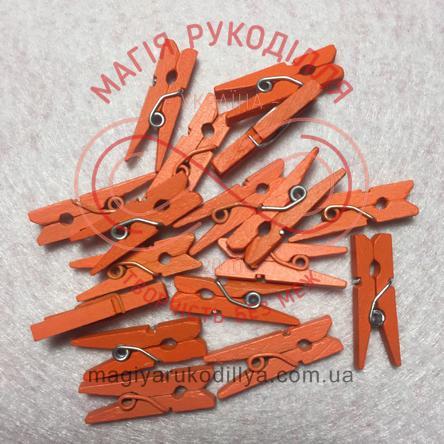 Прищіпка дерев'яна 2см - помаранчевий