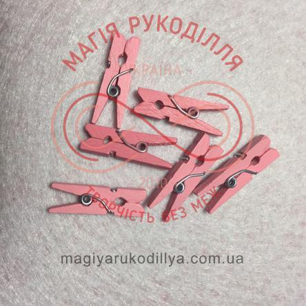 Прищіпка дерев'яна 2см - рожевий