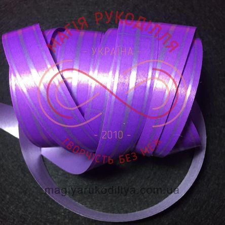Стрічка Флора - срібляста полоска, фіолетовий фон