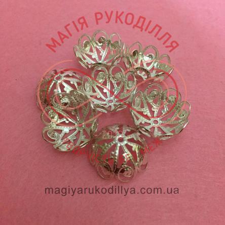 Обіймач намистини квітка 8 пелюсток d20мм h12мм - сріблястий