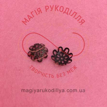 Обіймач намистини квітка 8 пелюсток d10мм h5мм - бронзовий