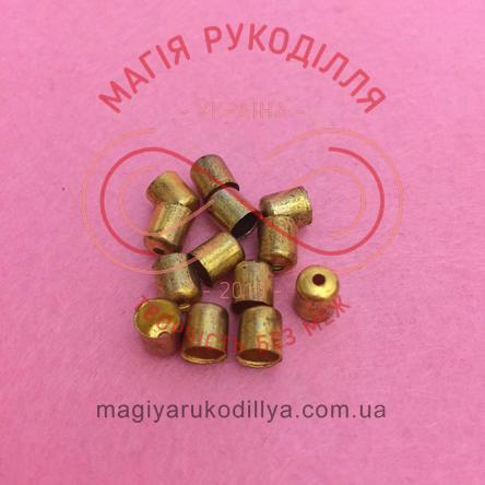 Обіймач намистини циліндр d5мм h5мм - золотистий