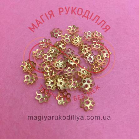 Обіймач намистини квітка 7 пелюсток d5мм h2мм - золотистий