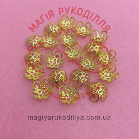 Обіймач намистини квітка 5 пелюсток d10мм h5мм - золотистий