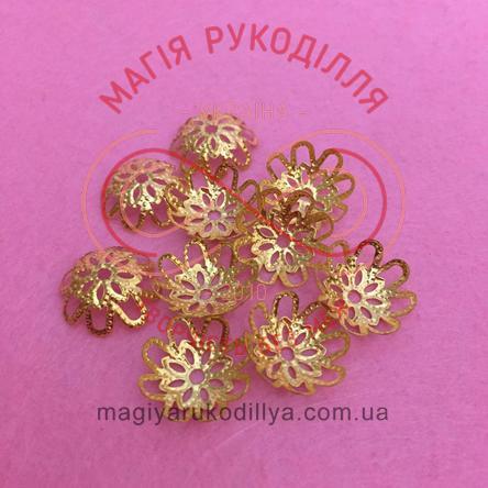 Обіймач намистини квітка 8 пелюсток d15мм h6мм - золотистий