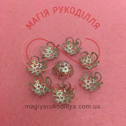 Обіймач намистини квітка 5 пелюсток d10мм h5мм - сріблястий