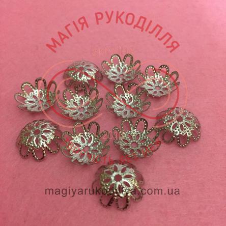 Обіймач намистини квітка 8 пелюсток d12мм h7мм - сріблястий