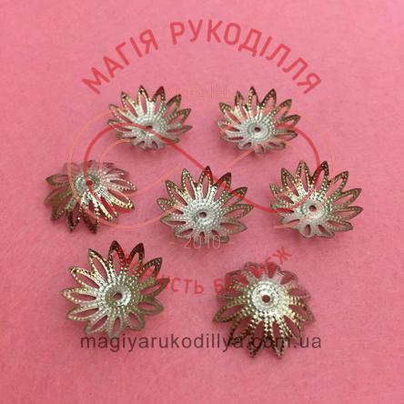 Обіймач намистини квітка 12 пелюсток d17мм h8мм - сріблястий