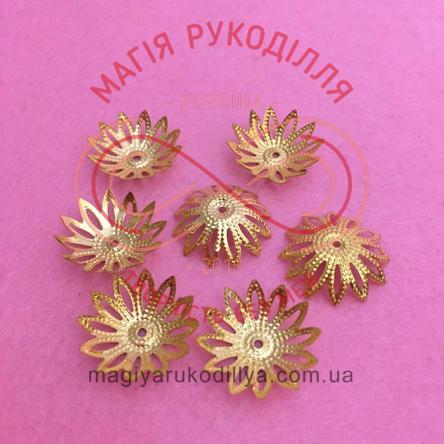 Обіймач намистини квітка 12 пелюсток d17мм h8мм - золотистий