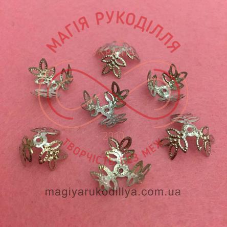 Обіймач намистини квітка трилист d15мм h7мм - сріблястий