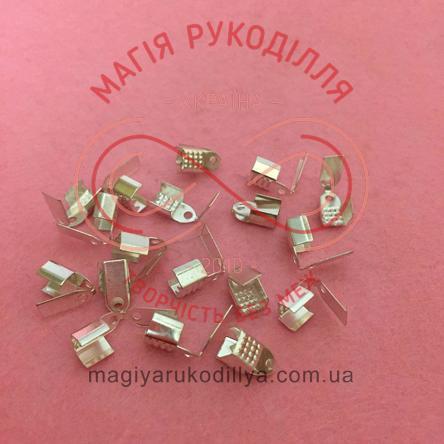 Зажим для нитки/шнура 8мм*4мм - сріблястий