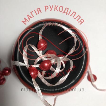 Намистинки на стрічці 300см - червоний напівперли
