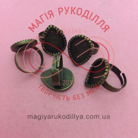 Основа для каблучки сталь,регульований розмір, краплинка h2см - бронзовий