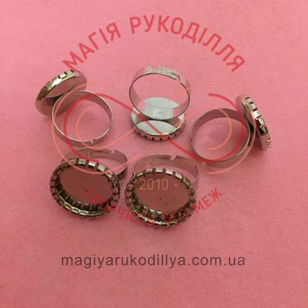 Основа для каблучки сталь,регульований розмір,платформа d1,7см - сріблястий