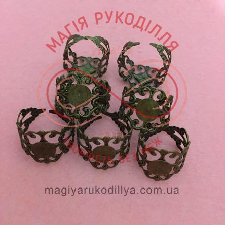Основа для кольца сталь, регулируемый размер, кружевная - бронзовый