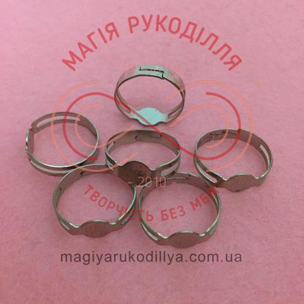 Основа для каблучки сталь,регульований розмір,платформа d0,8см стандарт - сріблястий