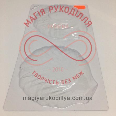 Кондитерська пластикова форма прозора d10,3-10,5см*9,5см*2см/основа 22,6см*12,2см - В1-010 Мушлі