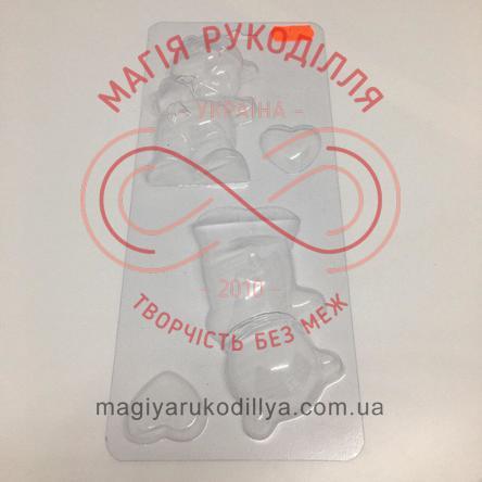 Кондитерська пластикова форма прозора 4 фігури 10,4см*6см*2,5см/основа 25см*10,5см - В1-056Z Ведмежа