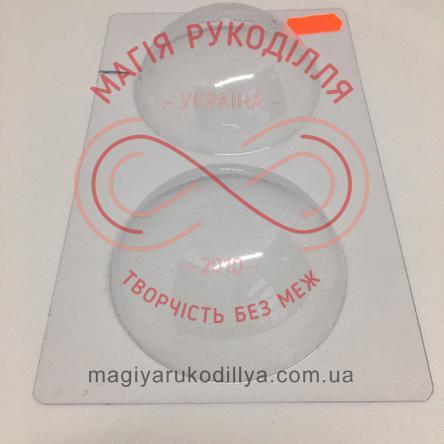 Кондитерська пластикова форма прозора 2 фігури d7,5см*2,5см/основа 18см*11см - В2-061 Напівсфери