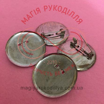 Основа для брожки кругла d3см з шпилькою - сріблястий