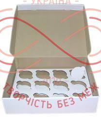 Кондитерська/подарункова коробка 12 кексів (мікрогофра) 330*250*80 - білий