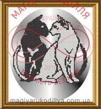 Схема для вишивання бісером картина атлас А4 - СКМ-4 Коти Інь-Янь