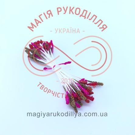 Тичинки-краплинки цукрові на нитці двосторонні d2-3мм h5,5см 1в'язочка/35шт - кольоровий