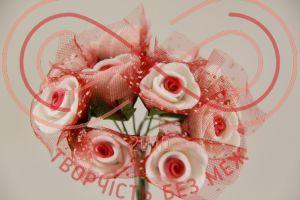 Бутон'єрка троянда акрилова з сіткою на ніжці d1,5смh8,5см(гілочка) - біло-червоний