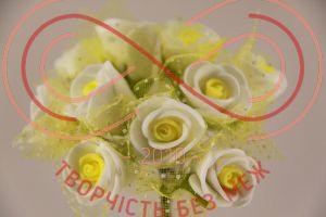 Бутон'єрка троянда акрилова з сіткою на ніжці d1,5смh8,5см(гілочка) - біло-лимонний