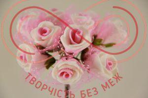Бутон'єрка троянда акрилова з сіткою на ніжці d1,5смh8,5см(гілочка) - біло-рожевий